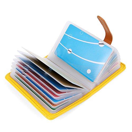 10 Colores Tarjetero para Tarjeta de Credito Cuero para Mujer Hombre - 26 Tarjetas (Amarillo)