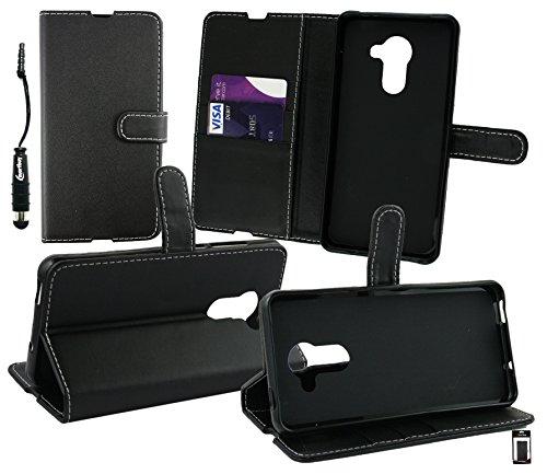 Emartbuy® Eingabestift Pack für Vodafone Smart Platinum 7 Schwarz Metallisch Mini Eingabestift + Brieftaschen Etui Hülle Case aus PU Leder Schwarz mit Kreditkartenfächern + LCD Bildschirmschutz