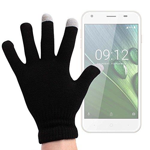 DURAGADGET Guantes Negros para Pantalla Táctil para Smartphone Acer Iconia Talk S, Liquid Z6 (y Plus) - Talla Pequeña - ¡Ideales para El Invierno!