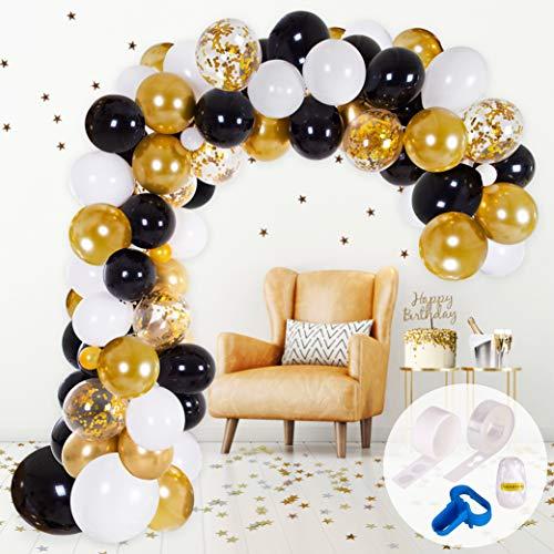 Kit Arco y Guirnalda de Globos | Globos color Negro, Blanco y Dorado | Ata Globos, Cinta para Globos y Gotitas adhesivas | Decoración para Fiestas de Cumpleaños, Graduaciones, Compromisos o Bodas