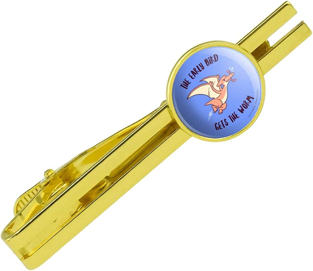 GRAPHICS & MORE The Early Bird Gets The Worm Funny Humor Round Tie Bar Clip Clasp Tack Gold Color Plated