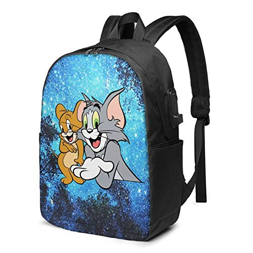 Cat And Mouse Pattern Backpacks Lightweight Multi-Function College School Cartoon Bookbag For Boys/Girls/Teens