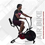 Lifelong LLF18 Fit Pro Plus Airbike Exercise Machine with Moving Handles & Back Support for Cardio Training, Weight Loss and Workout at Home