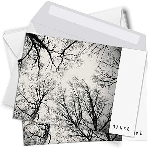 Trauer Danksagungskarten mit Umschlag | Motiv: Kahle Bäume, 15 Stück | Dankeskarten DIN A6 Set | Trauerkarten Danksagung Danke sagen