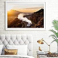 ウォールアート40x60cmフレームなしウォールアートキャンバスレースドリフトカーラリースポーツポスターモダンなリビングルームの家の装飾のための壁の写真