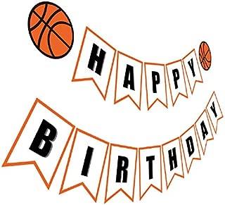 Silvima Basketball Birthday Banner | Basketball Theme Happy Bday Bunting Sign, Basketball Party Decoration