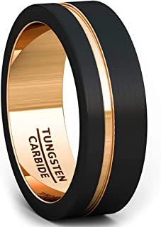 Duke Collections Mens Wedding Band 8mm Black Matte Brushed Tungsten Ring Thin Side Rose Gold Groove Line Flat Edge Comfort...