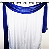 Gorgeous Home 1 Solid Decorative Navy Blue Elegant Scarf Valance Sheer Voile Window Panel Curtain 216' Long Swag Topper