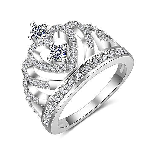 yqs Anillo abierto de la joyería de la manera de la piedra de la corona de los anillos para las mujeres de color plata princesa corte 4.6 CT blanco zirconia anillo de boda