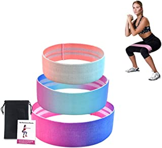 POPOTI Resistance Bands, Workout Bands Fabric Booty Bands for Hips Non-Slip Exercise Bands Elastic Resistance Loops Streng...