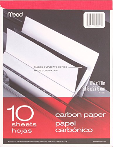 "Mead 40112 - Carbon Paper Tablet - 8.5"" x 11"" (10 Sheets), Black"