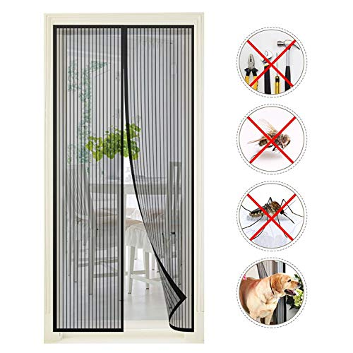 Premium Magnetic Screen Door – Keep Bugs Out Lets Fresh Air in. Instant Bug Mesh is Built Tough,...