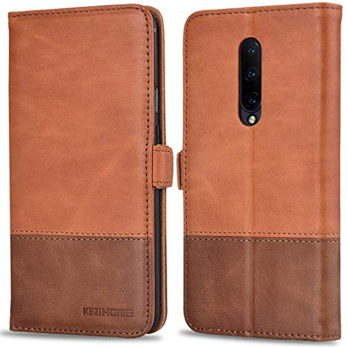 Oneplus 7 Pro Case, KEZiHOME Oneplus 7 Pro Wallet Case, [RFID Blocking] Genuine Leather Wallet Flip Folio Case Cover with Card Slot, Stand Holder, Magnetic Closure for Oneplus 7 Pro 2019 (Khaki/Brown)