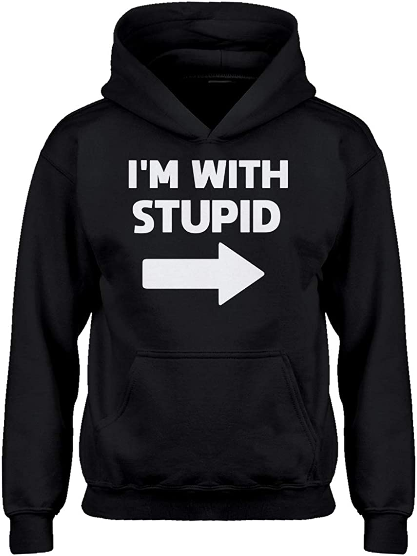 Indica Plateau I'm with Stupid Right Hoodie for Kids