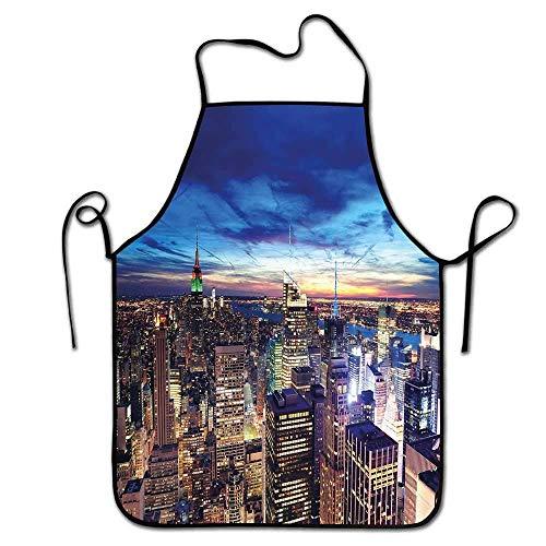 Not Applicable Stadtschürze Küche Empire State und Wolkenkratzer von Midtown Manhattan New York Luftbild bei Abenddämmerung Männer BBQ Tan Navy Blue Aqua