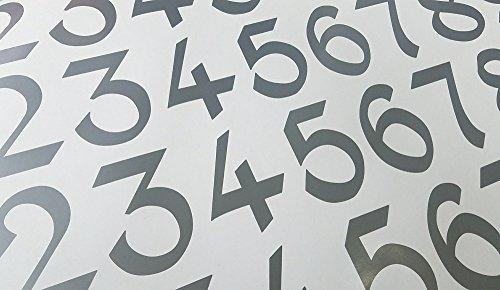 Vintage Style Die Cut Vinyl Numbers (3 inch, Metallic Silver Gray)