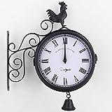 ShiSyan 掛け時計 メタルケースダブルサイド時計、両面屋外ガーデンウォールクロック、オスのひな鳥ベル形、屋内/屋外の庭 おしゃれ 飾り お祝い 贈り物