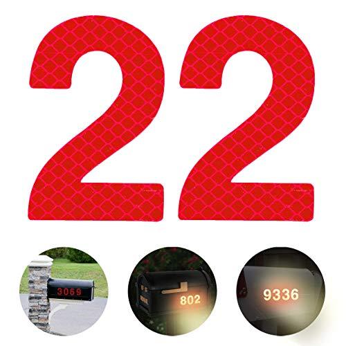 Reflektierende Hausnummer 2 aus Edelstahl, 7cm Selbstklebende Hausnummer, Klebend Hausnummer Schild zum Aufkleben für Briefkasten/Mailbox/Wand/Straßen und Tür (2er Pack)