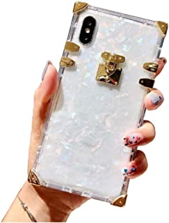 """Best BABEMALL Compatible for iPhone Xs max 6.5 """" Case, Luxury Square Glitter Shell Transparent TPU Phone Metal Corner Soft Case (Shell Clear) Review"""