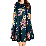 Samtree Women's Plus Size Floral 3/4 Sleeve Backless Cocktail Party Swing Dress(Tag Size 8XL(US 24 W),Green)