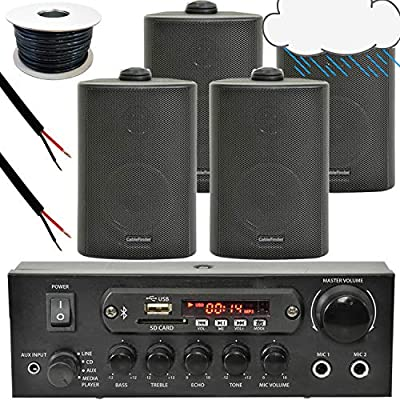 4x Black Outdoor Speaker Bluetooth System Kit | SMART HOME ECHO DOT ALEXA SPOTIFY | Outside Background Audio Weatherproof Waterproof External | Wireless Music Player HiFi For Garden BBQ Parties, Pub by Loops