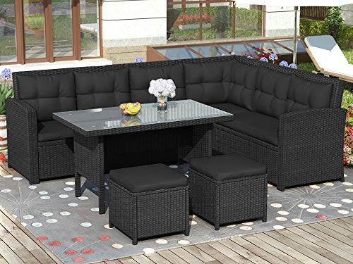 Merax. 7 Pieces Outdoor Dining Set with Glass Top PE Wicker Rattan Patio Garden Furniture Set
