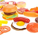 PowerTRC Fast Food & Dessert Play Food Cooking Set for Kids - 30 pieces (Burgers, Donuts, Ice Cream, & more)