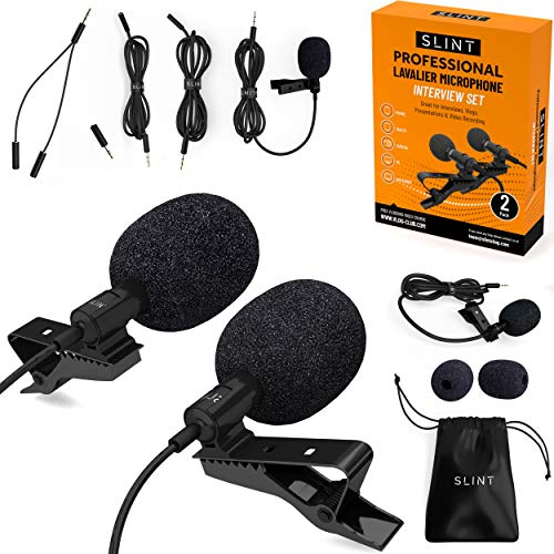 SLINT Lapel Microphone 2 Pack - Clip-On Microphones with Omnidirectional Condenser - Lavalier Lapel Mic Compatible with iPhone, Android, GoPro, DSLR - Lav Mic for YouTube Recording