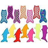 Reusable Popsicle Holders Mermaid and Shark Ice Pop Sleeves Anti Freezing Sleeves Holders Bags,Set of 16