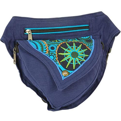 Riñonera Lateral Hippie Bordada (Azul Marino)