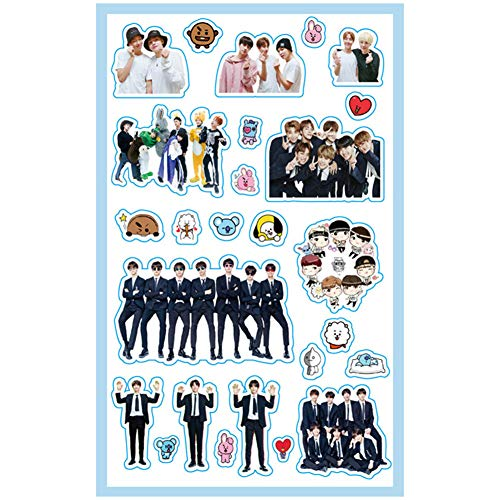 Nuofeng - Stickers Bangtan Boys Gold-Plated Support Light Cute Cartton Stickers for Laptop Decoration Cellphone Decals (H20)