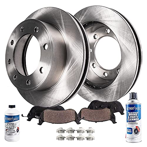 Detroit Axle - 4WD Front Disc Brake Rotors + Ceramic Brake Pads Replacement for...