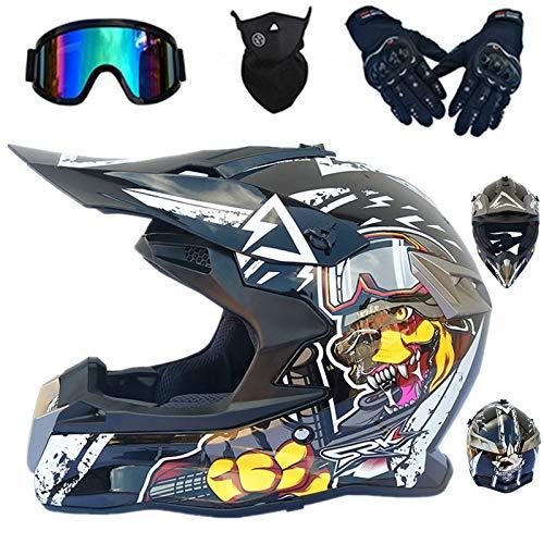 Casco de moto infantil D. O. T estándar para niño, casco de bicicleta de montaña Integral BMX Quad Enduro Scooter Goggle/Guantes/Máscara Moto Motocross Cascos (negro,M)