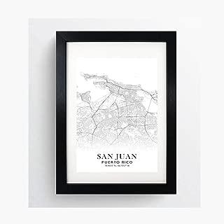 San Juan, Puerto Rico Minimalist Map - Poster Print Artwork - Professional Wall Art Merchandise - Coordinates, Black and White