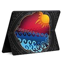 igsticker Surface Pro X 専用スキンシール サーフェス プロ エックス ノートブック ノートパソコン カバー ケース フィルム ステッカー アクセサリー 保護 005857 その他 太陽 海 イラスト