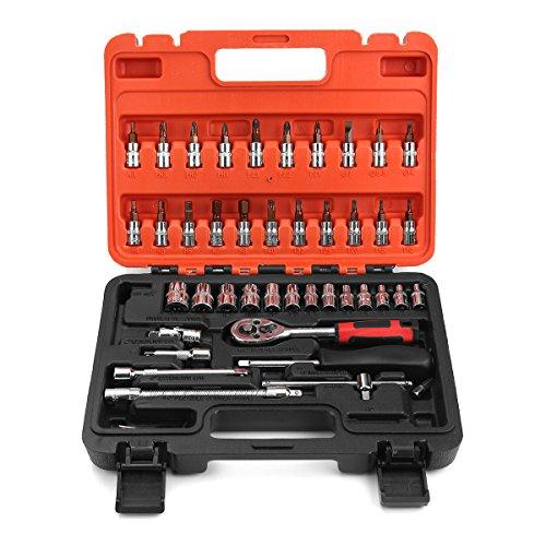 GOZAR 46st 1/4 inch moersleutel reparatie gereedschap metrisch Socket moersleutel schroef kit