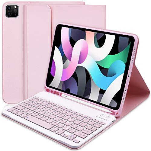"""Custodia Tastiera per iPad Air di quarta generazione(2020, 10.9"""") e supporto per Apple Pencil integrato, sottile con tastiera Bluetooth staccabile per iPad Air 4 Gen 10.9 2020/iPad Pro 11 2018 (rosa)"""