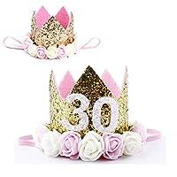 LUCKY FUN バースデーパーティー ハット 30歳 誕生日 帽子 王冠 お祝いグッズ 飾り 男 女