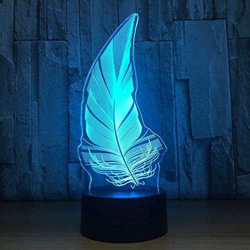QAIXP Luz de noche 3D Lámpara de escritorio de modelado LED 3D, 16 colores, cambio de pluma, gradiente, atmósfera, iluminación, Cool Boy, mesita de noche, lámpara de noche, decoración, juguete