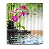 Duschvorhang Spa Spring Zen Bambus Orchidee Stein Badezimmer Displaye Wasserdichtes Polyestergewebe Für Badewanne Dekor Duschvorhänge 240 (B) X 200 (H) cm
