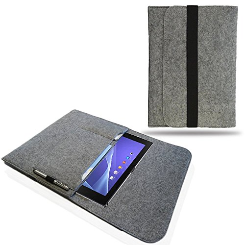 NAUC Tasche Hülle für Odys Winpad V10 Filz Sleeve Schutzhülle Case Cover Bag, Farben:Hell Grau