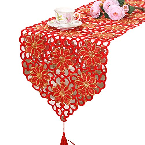 kangqiang Camino De Mesa De Vacaciones Clásico Flor Bordado Comedor Mesa De Centro Regalos para Boda Festival Mesa De Fiesta Decoración del Hogar Rojo 40x176cm
