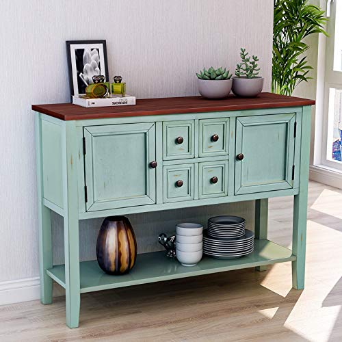 P PURLOVE Buffet Table Sideboard with Storage Drawers Cabinets and Bottom Shelf (Antique Espresso)