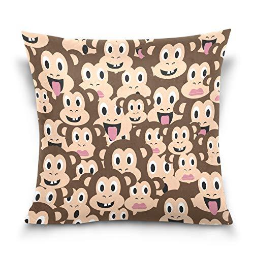 HMZXZ Funda de almohada decorativa de 45,7 x 45,7 cm, diseño de cabezas de mono