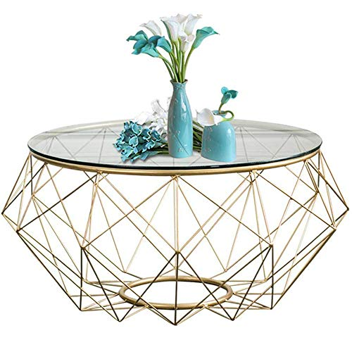 Modern Coffee Side Table/End Table W/Tempered Glass Table Top, Furniture Decor Side Table Large Round Occasional Stand Tea Table for Living Room Home And Office