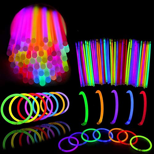 """Asmoda Glow Sticks Bulk 100 Pack.100 Glowsticks and 100 Connectors. 8"""" Ultra Bright Glow Sticks Party Pack Mixed Colors; Bracelets Glow Necklaces Glow-in-The-Dark Light-up July 4th Christmas Halloween Party Supplies Pack, Football Party Supplies"""