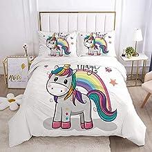 Goplnma - Juego de cama de unicornio rosa, funda nórdica con diseño de caballo arcoíris para niñas, con fundas de almohada, impresión 3D (140 × 210 cm, 2).