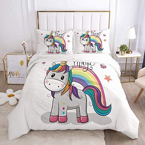 Goplnma - Juego de cama de unicornio rosa, funda nórdica con diseño de caballo arcoíris para...