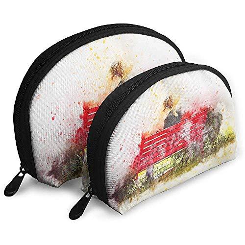 Mädchen Bank Lesen Aquarell Tragbare Taschen Make-up Kulturbeutel Multifunktions Tragbare Reisetaschen Kleine Make-up Clutch Pouch mit Reißverschluss