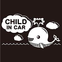 imoninn CHILD in car ステッカー 【シンプル版】 No.33 クジラさん (白色)